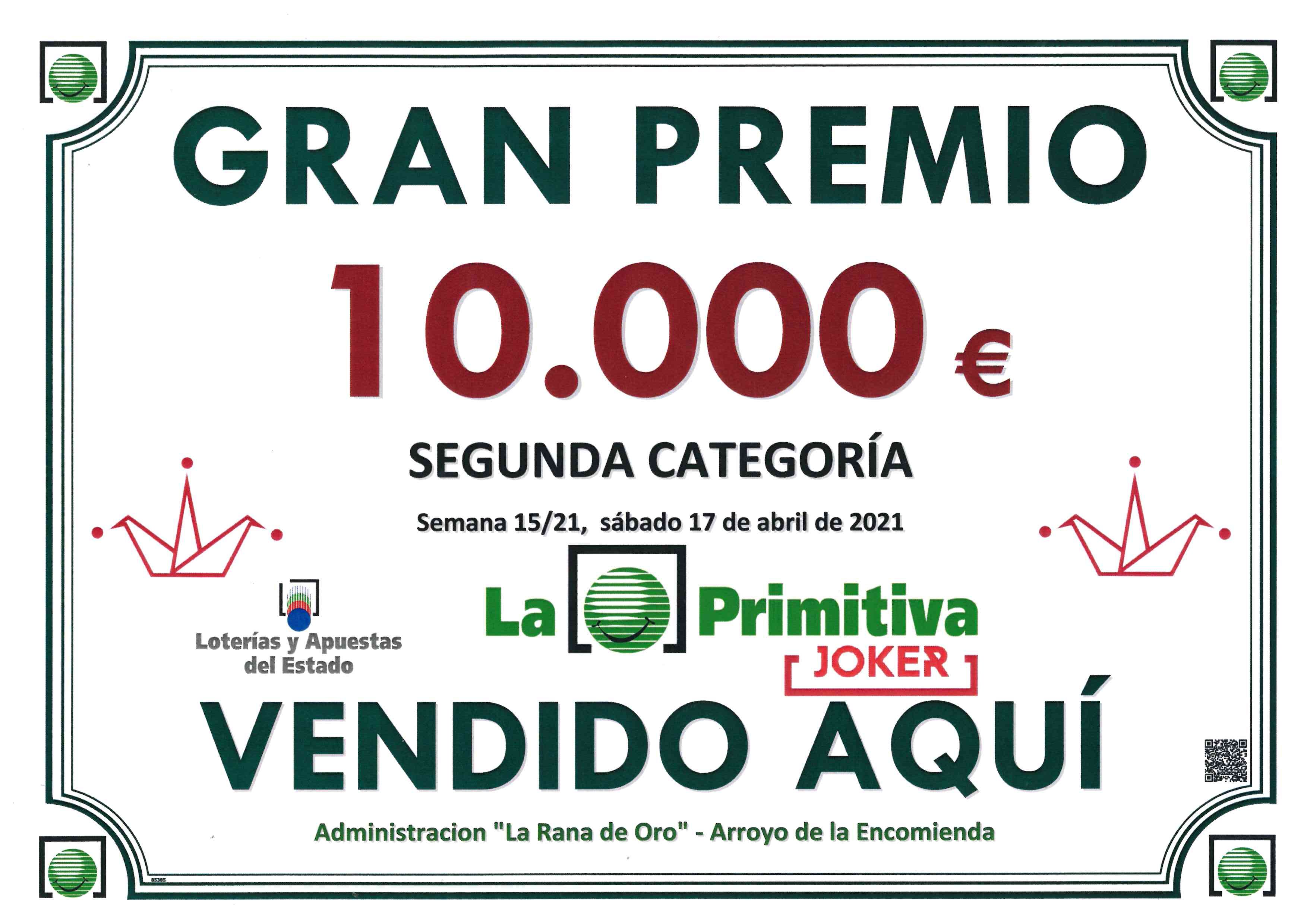 Premio de 10.000€ del Jocker de La Primitiva vendido en La Rana de Oro